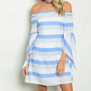Dresses & Skirts - Off Shoulder Cut Out Back Stripe Bell Sleeve Dress